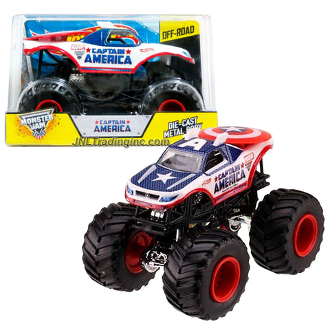"Hot Wheels Year 2014 Monster Jam 1:24 Scale Die Cast Official Monster Truck Series - Marvel CAPTAIN AMERICA (CHV12) with Monster Tires, Working Suspension and 4 Wheel Steering (Dimension - 7"" L x 5-1/2"" W x 4-1/2"" H)"