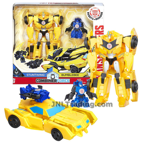 Transformers Year 2016 Robots in Disguise Combiner Force Series 5-1/2 Inch Tall Figure Activator Set - BUMBLEBEE (4 Step Changer) with STUNTWING (1 Step Changer)