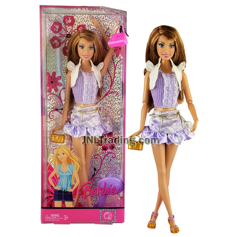 Year 2007 Barbie Fashion Fever Series 12 Inch Doll - TERESA L9539 in White Jacket with Purple Top and Mini Skirt Plus Purse and Hairbrush
