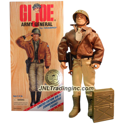 "Hasbro Year 1996 G.I. JOE Limited Edition World War II 50th Anniversary Commemorative 12 Inch Tall Action Figure - ARMY GENERAL with Dark-Shade Winter Shirt, Khaki ""Battle Dress"" Pants, Regulation Tucked-In Tie, General's Helmet, Customized Bomber Jacket, Pistol with Holster, Canteen and Belt"