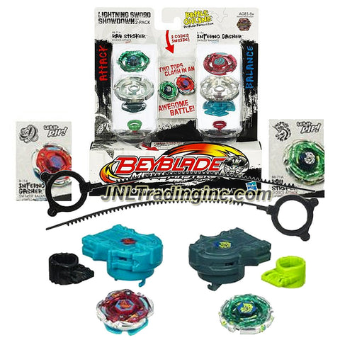 "Hasbro Year 2011 Beyblade Metal Masters Battle Tops ""Lightning Sword Showdown"" 2 Pack Set - Attack D125CS BB71A RAY STRIKER with Face Bolt, Striker Energy Ring, Ray Fusion Wheel, D125 Spin Track, CS Performance Tip and Balance SW145SF B-114 Inferno Gasher with Face Bolt, Gasher Energy Ring, Inferno Fusion Wheel, SW145 Spin Track, SF Performance Tip Plus 2 Ripcord Launchers and 2 Online Codes"