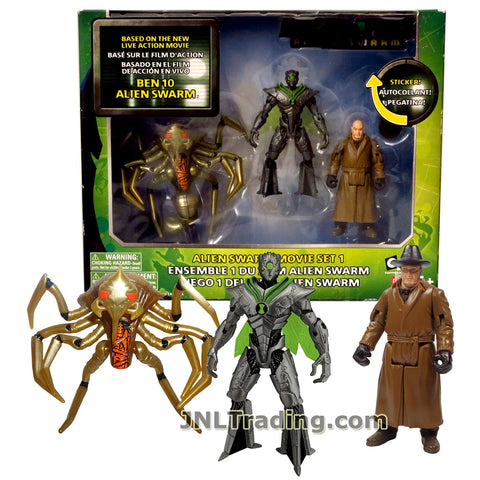 Cartoon Network Year 2010 Ben 10 Alien Swarm Movie Series 3 Pack 4 Inch Tall Figure Set 1 with ALIEN QUEEN, NANOMECH and VALIDUS