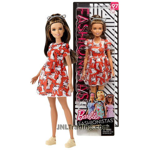 Barbie Year 2017 Fashionistas Series 10 Inch Doll Set #97 - Petite Hispanic BARBIE FJF57 in Red Meow Mix Dress with Cat Ear Hairband