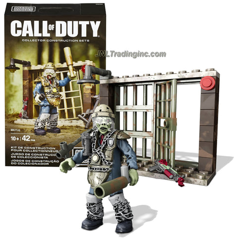 Mega Bloks Year 2015 Call of Duty Series Micro Action Figure Set CNN66 - BRUTUS the Zombie with Police Armor, Ray Gun Mark II, Prison Guard Club, Grenade and Buildable Prison Cell