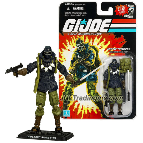 Hasbro Year 2007 GI JOE  A Real American Hero Comic Series 4 Inch Tall Action Figure - Arctic Trooper SNAKE EYES with Submachine Gun, Katana Sword, Backpack, Snow Shoes and Display Base