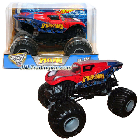 "Hot Wheels Year 2016 Monster Jam 1:24 Scale Die Cast Official Monster Truck Series #CHV10 : Marvel SPIDER-MAN with Monster Tires, Working Suspension and 4 Wheel Steering (Dimension - 7"" L x 5-1/2"" W x 4-1/2"" H)"