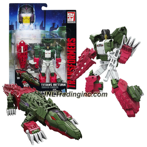 Hasbro Year 2015 Transformers Titans Return Series 5-1/2 Inch Tall Robot Figure - GRAX & SKULLSMASHER with Blaster & Card (Beast Mode:Crocodile)