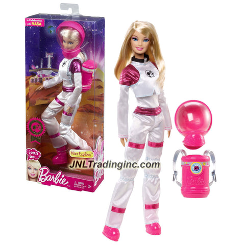"Mattel Year 2013 Barbie ""I Can Be"" Series 12 Inch Doll Set - BARBIE as MARS EXPLORER (X9073) with Outer Space Suit, Removable Helmet and Backpack"