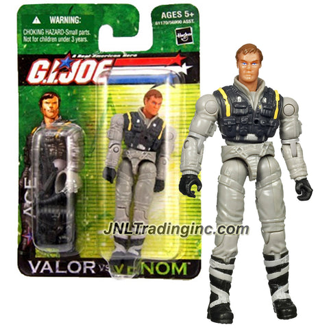 "Hasbro Year 2004 G.I. JOE ""Valor Vs. Venom"" Series 4 Inch Tall Action Figure - Counter Intelligence Agent ACE with Gun, Assault Rifle with Grenade Launcher, Pilot Helmet and Backpack"