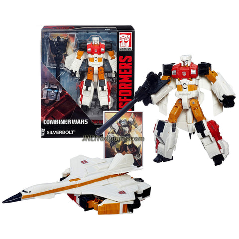Hasbro Year 2014 Transformers Generations Combiner Wars Series Voyager Class 7 Inch Tall Robot Action Figure - Autobot SILVERBOLT with Blaster Rifle and Shield Plus Collector Card (Vehicle Mode: Fighter Jet)