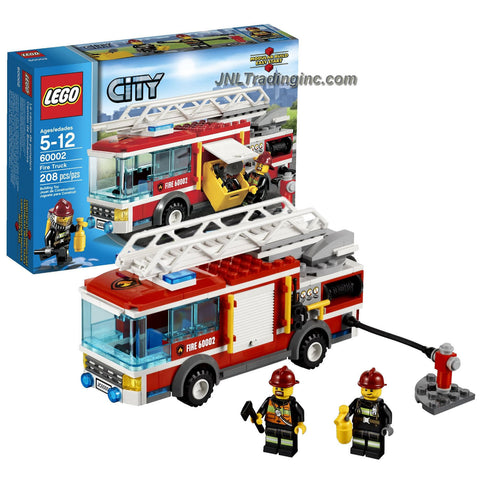 Lego Year 2013 City Series 6 Inch Long Vehicle Set #60002 - FIRE TRUCK with Retractable Hose, Extendable Ladder with Rotating Base and an Opening Hatch with Storage Box Plus 2 Firefighter Minifigures (Total Pieces: 208)
