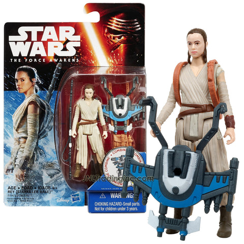 "Hasbro Year 2015 Star Wars The Force Awakens Series 4"" Figure - REY (Starkiller Base) w/ Staff, Backpack Plus Build A Weapon Part #2"