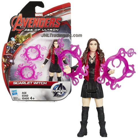 Hasbro Year 2015 Marvel Avengers Age of Ultron Series 4 Inch Tall Action Figure - SCARLET WITCH with 2 Hex Spheres Rings