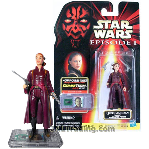 Star Wars Year 1998 The Phantom Menace Series 4 Inch Tall Figure - QUEEN AMIDALA with 2 Blaster Pistols and CommTech Chip