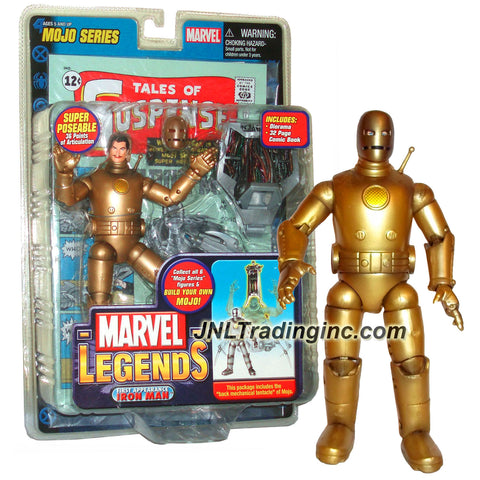 Marvel Legends Year 2006 Mojo Series 7 Inch Tall Figure - Variant Gold 1st Appearance IRON MAN with 36 Points of Articulation, Removable Mask, Diorama, Mojo's Back Mechanical Tentacle and Comic