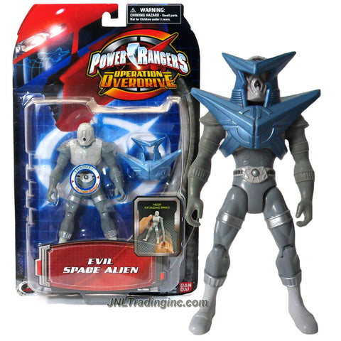 Bandai Year 2006 Power Rangers Operation Overdrive Series 5-1/2 Inch Tall Action Figure - EVIL SPACE ALIEN with Stretching Arm, Light and Removable Armor Piece