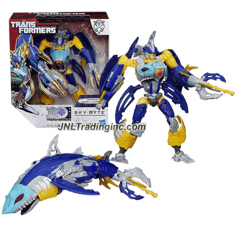 "Hasbro Year 2014 Transformers Generations ""Thrilling 30"" Series Voyager Class 8 Inch Tall Robot Action Figure - Predacon SKY-BYTE with Spinning Missile Launcher (Beast Mode: Shark)"