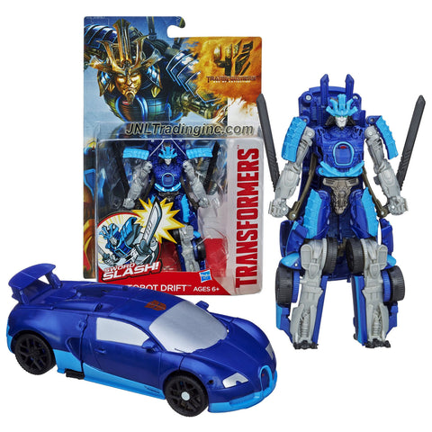 "Hasbro Year 2013 Transformers Movie Series 4 ""Age of Extinction"" Power Attacker 5-1/2 Inch Tall Robot Action Figure - AUTOBOT DRIFT with Sword Slash Feature (Vehicle Mode: Bugatti)"