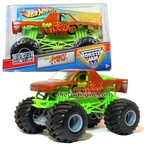 "Hot Wheels Year 2012 Monster Jam 1:24 Scale Die Cast Metal Body Official Monster Truck Series #W3368 - RAP ATTACK with Monster Tires, Working Suspension and 4 Wheel Steering (Dimension : 7"" L x 5-1/2"" W x 4-1/2"" H)"