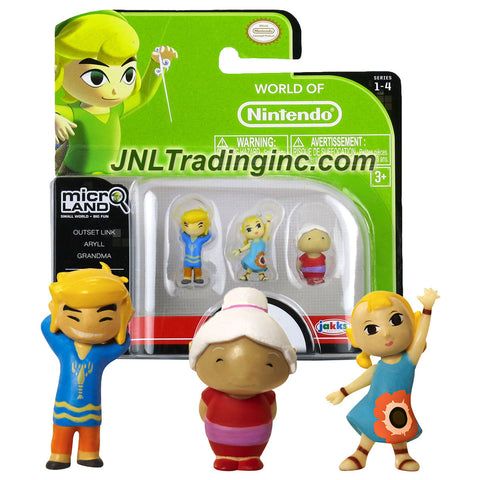 "Jakks Pacific Year 2015 World of Nintendo ""Zelda The Windwaker"" Series 3 Pack 1 Inch Tall Micro Land Mini Figure - OUTSET LINK, ARYLL and GRANDMA"