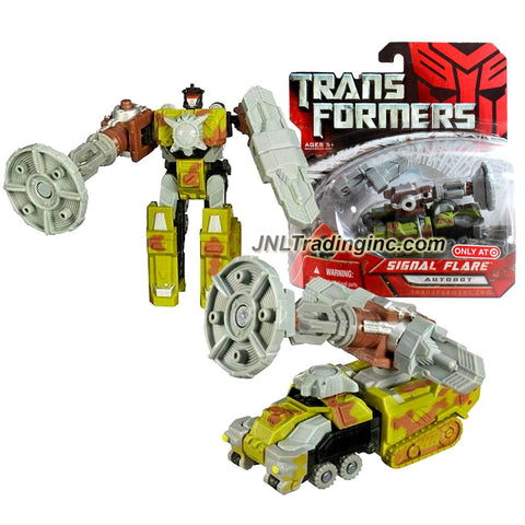 Hasbro Year 2007 Exclusive Series 1 Transformers Movie Scout Class 4 Inch Tall Robot Action Figure - Autobot SIGNAL FLARE with Energon Weapon (Vehicle Mode: Half-Track Tank)