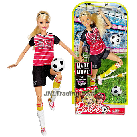 Mattel Year 2016 Barbie Made to Move Series 12 Inch Doll - SOCCER PLAYER BARBIE (DVF69) with Shin Pads and Soccer Ball