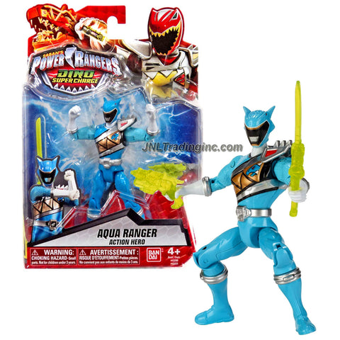 Bandai Year 2015 Saban's Power Rangers Dino Super Charge Series 5 Inch Tall Action Figure - AQUA RANGER with Blaster and Sword