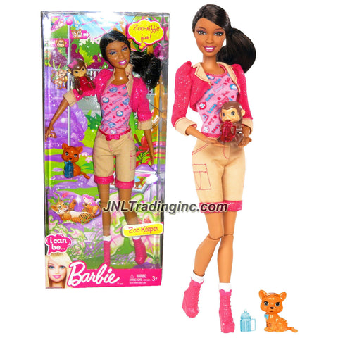 "Mattel Year 2012 Barbie ""I Can Be"" Series 12 Inch Doll Set - NIKKI as Zoo Keeper (X9080) with Pink Tops, Long Sleeve Cropped Jacket, Brown Denim Pants and Boots Plus Baby Monkey and Tiger Cub Figure"
