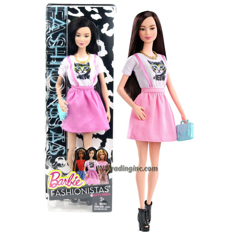Mattel Year 2014 Barbie Fashionistas Series 12 Inch Doll - NEKO (CLN66) with White and Pink Kitty Dress, Necklace and Purse