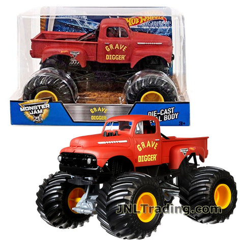Hot Wheels Year 2017 Monster Jam 1:24 Scale Die Cast Metal Body Official Truck - Red GRAVE DIGGER DWN99 with Monster Tires, Working Suspension and 4 Wheel Steering