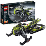 Lego Year 2014 Technic Series 10 Inch Long 2 in 1 Vehicle Set #42021 - SNOWMOBILE with Independent Suspension for Each Front Ski and a Rear Track Plus Steering Arms and Steering Bearings (Alternative Mode: Snow Motorcycle; Total Pieces: 186)