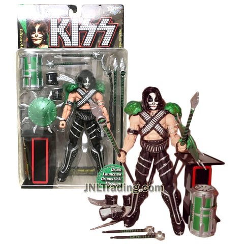 Year 1997 McFarlane Toys KISS Series 7 Inch Tall Ultra Action Figure - PETER CRISS with Drum, Spears, Mace, Shield, Armor and Letter I