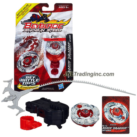 Hasbro Year 2013 Beyblade Shogun Steel Bey Battle Tops with Synchrome Technology -Attack LW160BSF SS-16 RONIN DRAGOON with Shogun Face Bolt, Dragoon Warrior Wheel, Ronin Element Wheel, LW160 Spin Track, BSF Performance Tip and Ripcord Launcher Plus Online Code