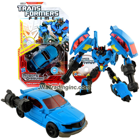 Hasbro Year 2012 Transformers Robots in Disguise Prime Series 1 Deluxe Class 6 Inch Tall Robot Action Figure #14 - Decepticon RUMBLE with Snap-On Pile Drivers Plus Bonus Full Episode DVD (Vehicle Mode: Tuner Car)