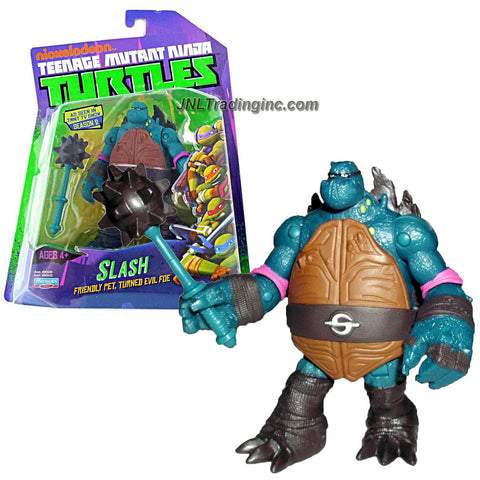 Playmates Year 2014 Nickelodeon Teenage Mutant Ninja Turtles 4 Inch Tall Action Figure - Friendly Pet Turned Evil Foe SLASH with Spiked Mace