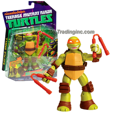 Playmates Year 2013 Nickelodeon Teenage Mutant Ninja Turtles Battle Shell Series 5 Inch Tall Action Figure - MICHELANGELO with Shell that Pops Open for Weapon Storage Plus 2 Nunchakus, 2 Shuriken Star and Chain Sickle