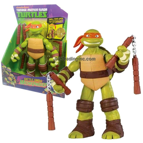 Playmates Year 2012 Teenage Mutant Ninja Turtles TMNT Battle Shell Series 11 Inch Tall Figure - MICHELANGELO with Nunchucks, Kamas and Shuriken Stars