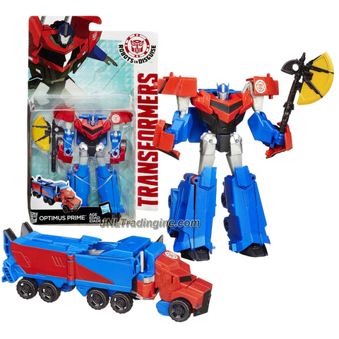 Hasbro Year 2014 Transformers Robots in Disguise Animation Series Deluxe Class 5 Inch Tall Robot Action Figure - Autobot OPTIMUS PRIME with Battle Axe (Vehicle Mode: Rig Truck)