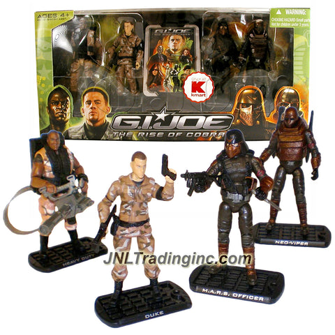 Hasbro Year 2009 G.I. JOE Movie Series The Rise of Cobra 4 Pack 4 Inch Tall Action Figure Set - G.I. JOE Vs COBRA - HEAVY DUTY with Backpack, Rifle & Submachine Gun; DUKE with Rifle & Gun; M.A.R.S. Industries WEAPONS OFFICER with Rifle, Gun and Knife; Plus NEO-VIPER with Rifles, Gun & Backpack