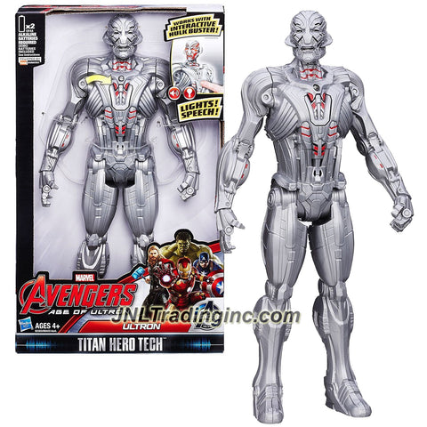 "Hasbro Year 2015 ""Marvel Avengers Age of Ultron"" Titan Hero Tech 12 Inch Tall Electronic Action Figure - ULTRON with Light and Speech Feature"