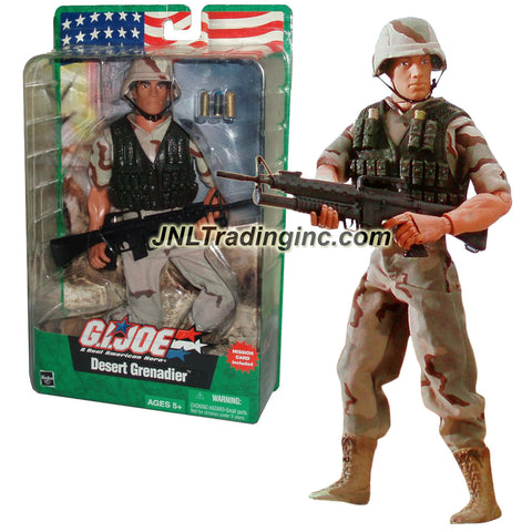 Hasbro Year 2003 GI JOE A Real American Hero Series 12 Inch Tall Soldier Action Figure - DESERT GRENADIER with Camo Outfit, Grenade Vest, Boots, Helmet, M16 Rifle, 3 Grenade Shells and Mission Card