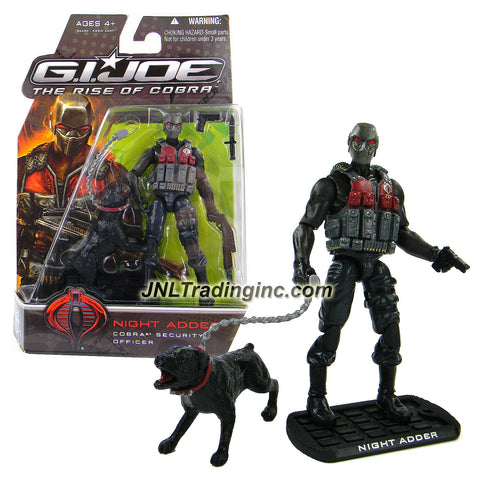 "Hasbro Year 2009 G.I. JOE Movie ""The Rise of Cobra"" Series 4 Inch Tall Action Figure - Cobra Security Officer NIGHT ADDER with Battle Knife, Gun, Shotgun Rifle, Guard Dog with Leash and Display Base"