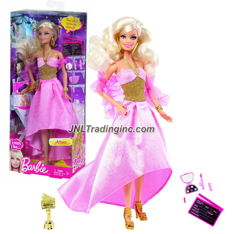 "Mattel Year 2012 Barbie ""I Can Be"" Series 12 Inch Doll Set - Barbie as ACTRESS (Y7373) with Action Board, Award Trophy and Make-Up Accessories"