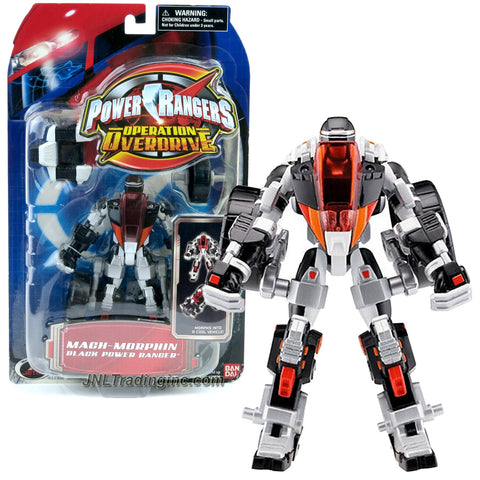Bandai Year 2006 Power Rangers Operation Overdrive Series 6 Inch Tall Action Figure : MACH-MORPHIN BLACK POWER RANGER that Morphs to Three Wheeler Cycle