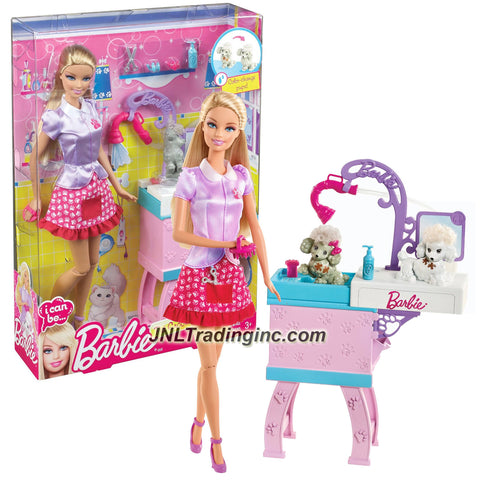 "Mattel Year 2012 Barbie ""I Can Be"" Series 12 Inch Doll Set - Barbie as PET GROOMER (Y7379) with 2 Puppies, Bathtub with Showerhead, Hairclips, 2 Bow Ties and Blue Bottle"