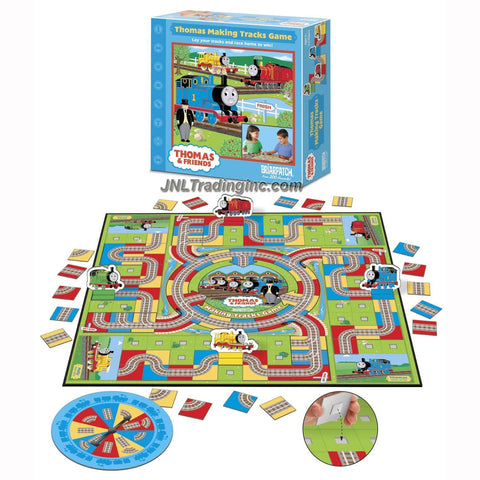 Briarpatch Year 2006 Thomas and Friends Board Game Set - Thomas Making Tracks with Game Board, 72 Track Pieces, 4 Engine Tokens with Stands, Spinner and Game Rules