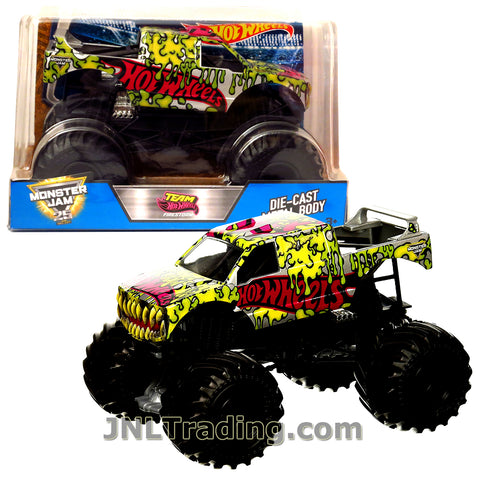 Hot Wheels Year 2017 Monster Jam 1:24 Scale Die Cast Metal Body Official Truck - TEAM HOT WHEELS FIRESTORM DWN97 with Monster Tires, Working Suspension and 4 Wheel Steering