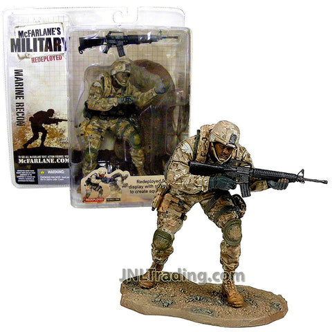 Year 2005 McFarlane's Toy Military Redeployed Series One 6 Inch Tall Soldier Figure - MARINE RECON (African American Version) with Full Combat Loadout, M4A1 Assault Rifle and Custom Base