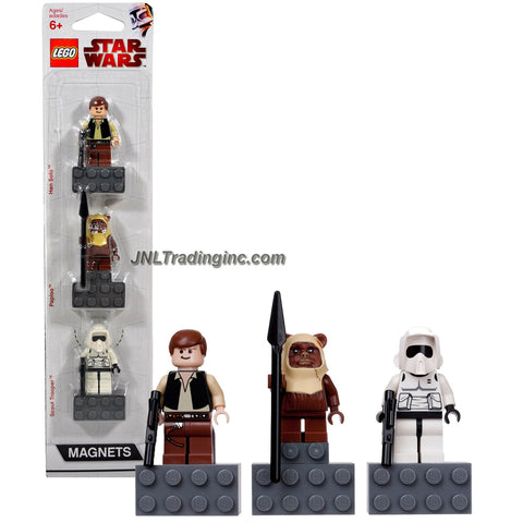 Lego Year 2010 Star Wars Character Minifigure Magnets Series 3 Pack Set # 852845 - HAN SOLO with Blaster, PAPLOO with Spear and SCOUT TROOPER with Blaster Minifigures with Magnet Base