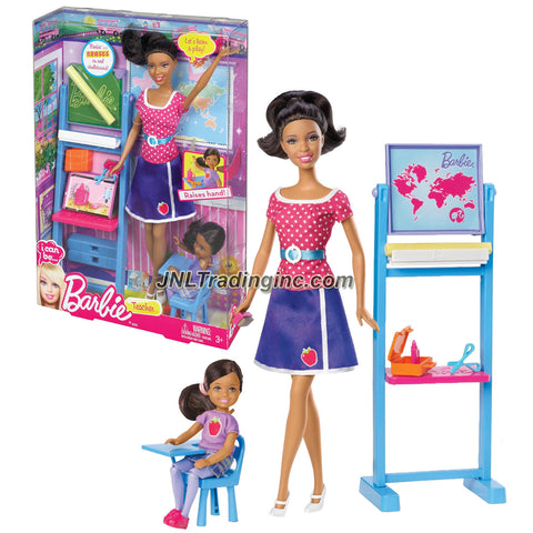 "Mattel Year 2012 Barbie ""I Can Be"" Series 12 Inch Doll Set - Nikki as TEACHER (BBD78) with Sister Chelsea Plus Chalkboard, Chair with Table Arm, Eraser, Scissors, Chalk and Pink Case"